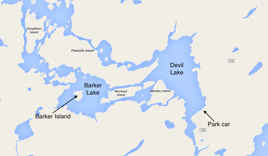 Map of Barker Lake