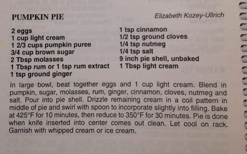 One of Annette's favourite pumpkin pie recipes